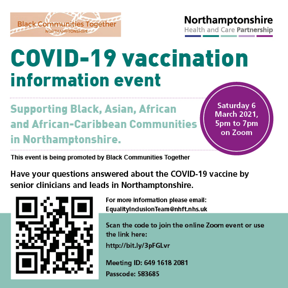 COVID-19 vaccination information event supporting Black, Asian, African and African-Caribbean Communities in Northamptonshire.