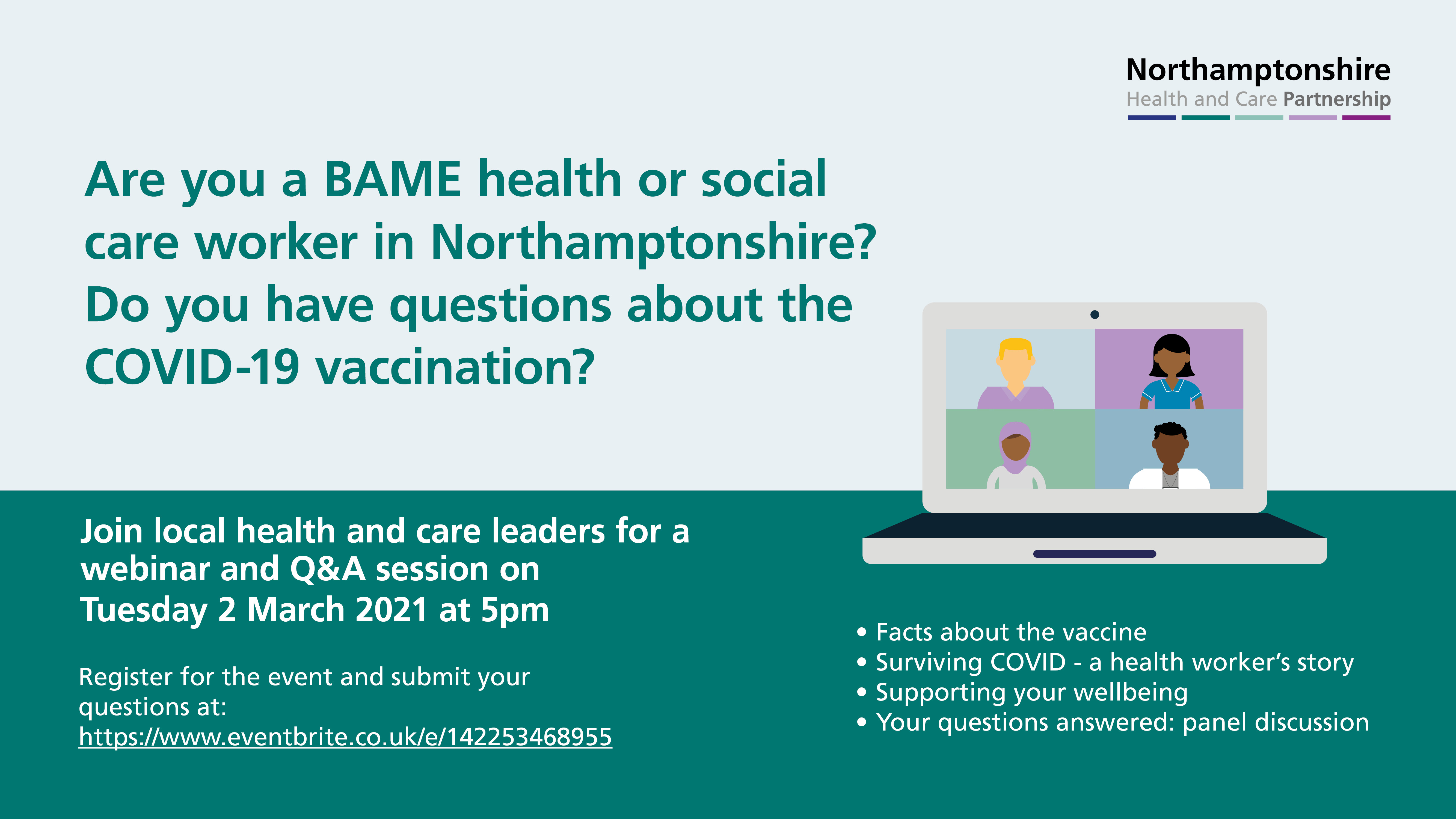 COVID-19 vaccination Q&A event for BAME health and care workers
