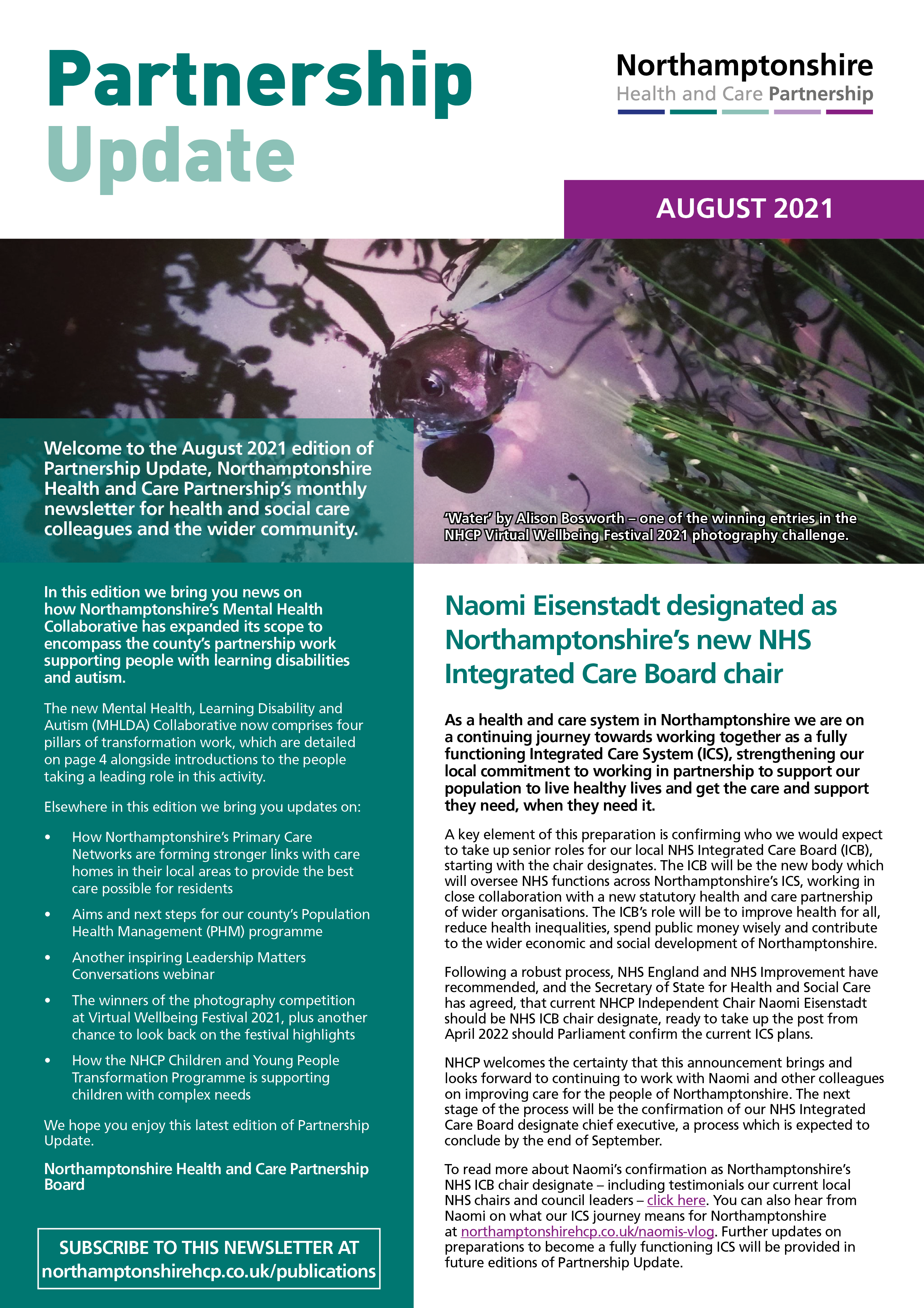 NHCP Partnership Update August 2021 front page