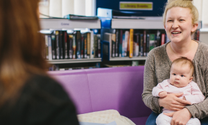 An image of a mother and child attending a maternal mental health service appointment